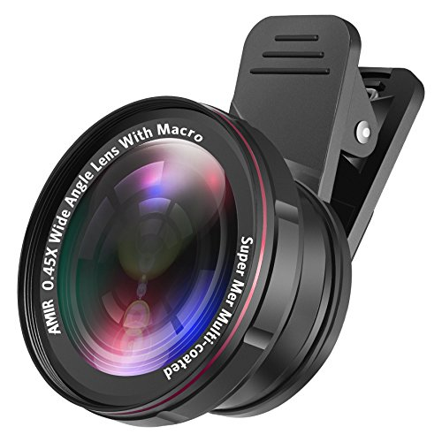 [Upgraded] AMIR For iPhone Lens Kit, 0.45X Wide Angle Lens + 15X Macro Lens for iPhone, 2 IN 1 Clip-On Cell Phone Camera Lens for iPhone 8 / X / 7 PLUS / 6 Lens Attachment for Samsung, Smartphones by AMIR