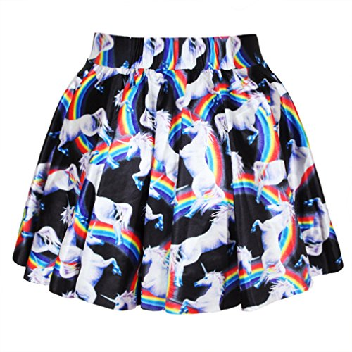 Pretty321 Women Girl Mini 3D Rainbow Horse Stretchy Flared Pleated Short Skirt Amazon