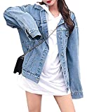 MuNiSa Women's Oversize Boyfriend Denim Jacket Long Sleeve Jean Coat With Pocket, Blue, XL