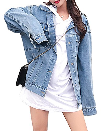 MuNiSa Women's Oversize Boyfriend Denim Jacket Long Sleeve Jean Coat With Pocket - Denim Oversized