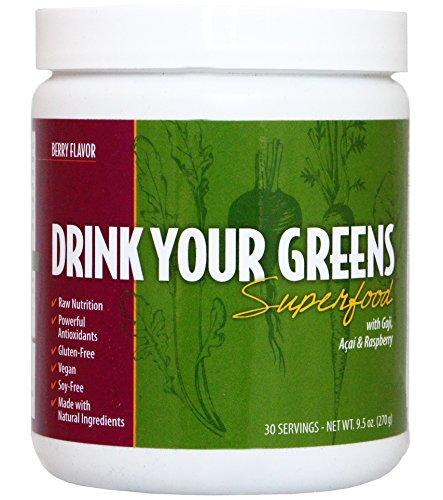 Buvez votre superaliment verts avec le Goji, Acai & framboise. Végétalien & Gluten Free, jus vert aller poudre, toutes Nutrition, puissants antioxydants, Multi vitamines, minéraux, de prébiotique et probiotiques