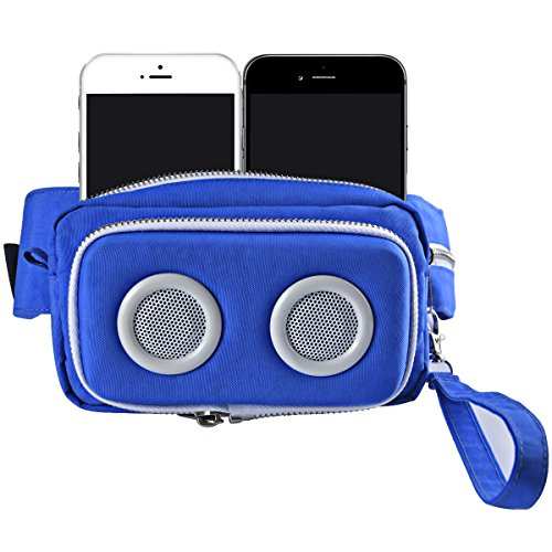 Sdtom Fanny Pack Waist Bag Bluetooth with 2 Stereo Wireless Speakers Two Metal Zippers USB Rechargeable Hiking Running Waist Pack Women Men for iPhone 8, 7, 7 Plus Stereo Pack
