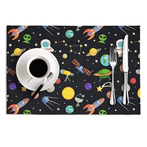 Octayi Placemats Set of 2 Heat Insulation Stain Resistant Placemat for Dining Table Black Space Alien Astronaut Crossweave Woven Vinyl Washable Table Mats ()