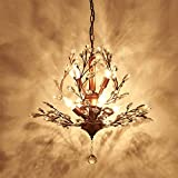 Injuicy Lighting American Country Wrought Iron Crystal Retro French Villa Bedroom Living Room Porch Branches Pendent Lamp (Bronze)