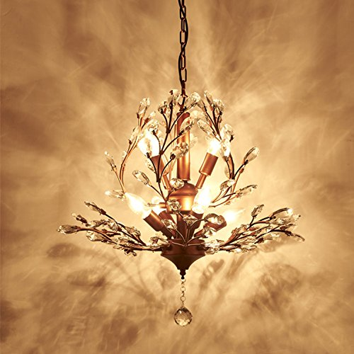 rican Country Wrought Iron Crystal Retro French Villa Bedroom Living Room Porch Branches Pendent Lamp (Bronze) (French Villa)