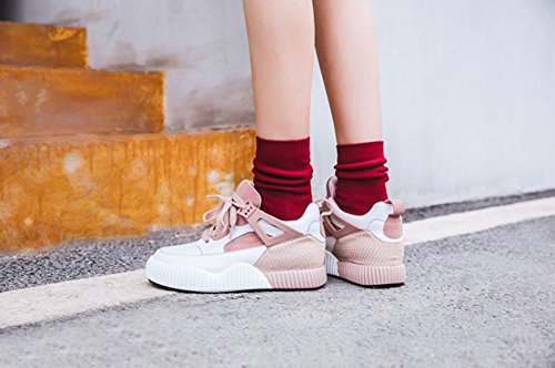 Casuales Primavera Damas Rosado Talón Confort Cuero Grueso Deporte Fondo Nuevo Zapatillas De 41 Cuña Zapatos 2018 color Tamaño Casuales Sneakers Otoño Mujer HawwS0T