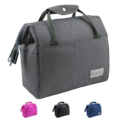Heyoung Insulated Lunch Bag,Reusable Lunch Tote,Larger Capacity Lunch Box for Men&Women,Double Deck Cooler(Advanced Grey) by Heyoung