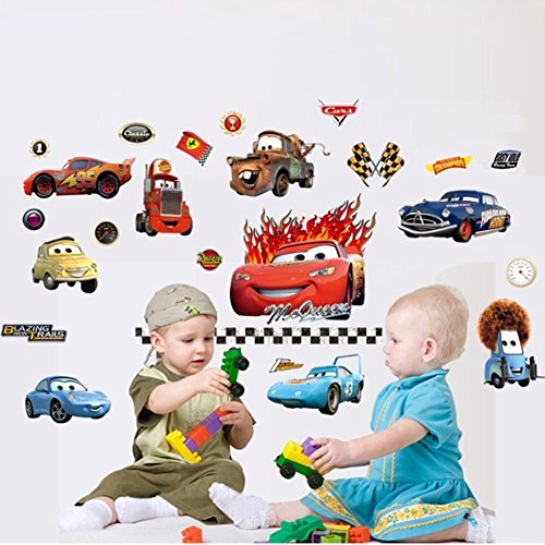 Fangeplus(TM) Removable Pixar Cars Piston Cup Champs Wall Stickers Decor Decal Sticker 39''x23'' - Piston Wall