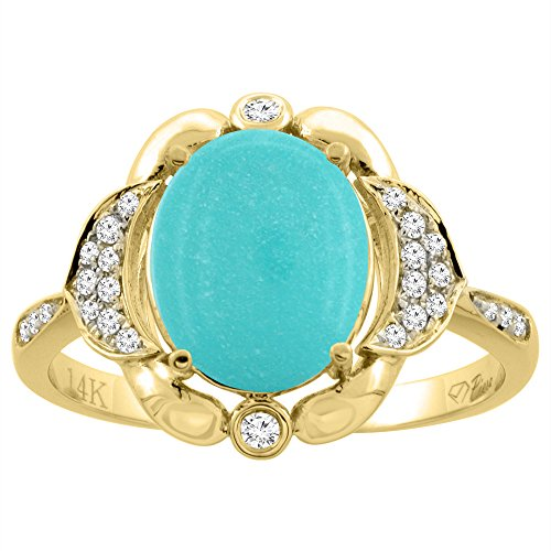 14K Yellow Gold Natural Diamond Sleeping Beauty Turquoise Engagement Ring Oval 10x8mm, size 8 14k Yellow Gold Turquoise Ring