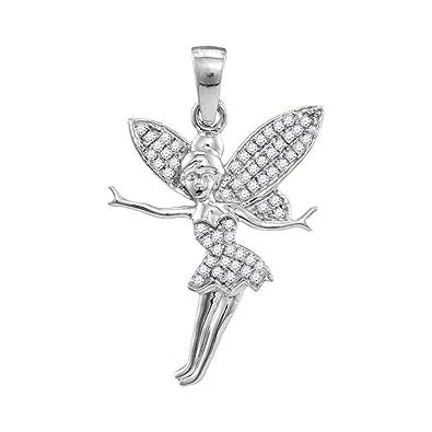 Jewels by Lux - Colgante de oro blanco de 10 quilates para mujer con diamantes redondos y mancuernas de hada y esguinces de 1/4 de mariposa: Amazon.es: ...