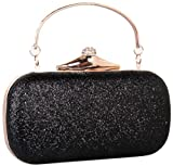 Bettyhome Women Shiny Rhinestone Handle Evening Bag Party Handbags Wedding Clutches Purse (black)