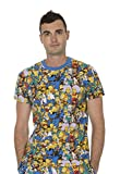 The Simpsons Multi Character Collage Blue T-shirt Tee (Adult Large)