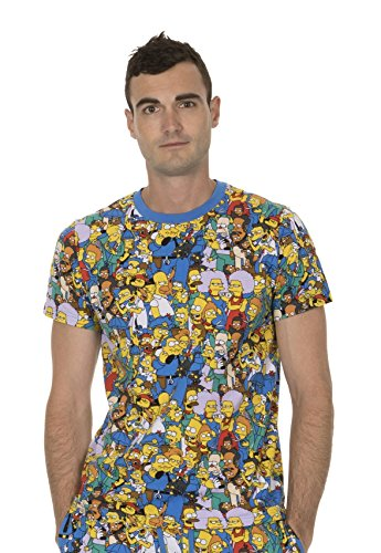 The Simpsons Multi Character Collage Blue T-shirt Tee (Adult Large) (Tees T-shirts Simpsons)