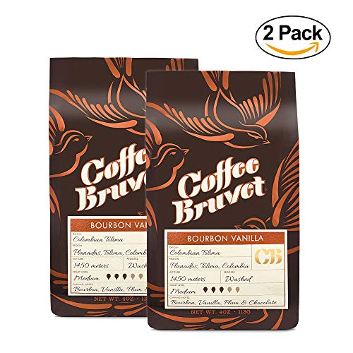 Coffee Bruvet Bourbon Barrel Aged Infused with Vanilla - Medium Roast- Organic Whole Coffee Beans - Highest Quality Gourmet - Whole Bean Coffee - Great For Cold Brew - Colombian Arabica 4 Ou (2 Packs) ()