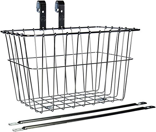Wald 135 Front Grocery Bicycle Basket (14.5 x 9.5 x 9, Silver)