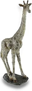 UG 16 Inch Standing Giraffe On Rock Statue with Gold Tone Print