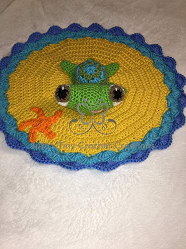 Disney Pixar Finding Nemo Finding Dory Squirt Inspired Lovey Security Blanket Sea Turtle - Sea Turtle Security Blanket - Lovey - Baby Photo Prop - Baby Shower Gift - Unisex Baby Gift - Baby Blanket -