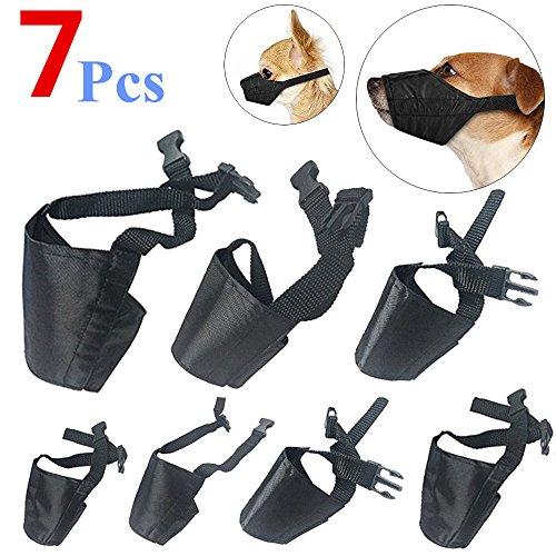 Dog Muzzles Suit, 7PCS Anti-biting Barking Muzzles Adjustable Dog Mouth Cover or Small Medium Large Extra Dog Small Medium Size Dog