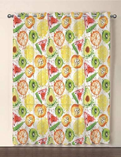 iPrint One Panel Extra Wide Sheer Voile Patio Door Curtain,Fruits,Paintbrush Mixed Plants Seed Splash Watermelon Peach Avocado Design,Yellow Orange Fern Green,for Sliding Doors(108