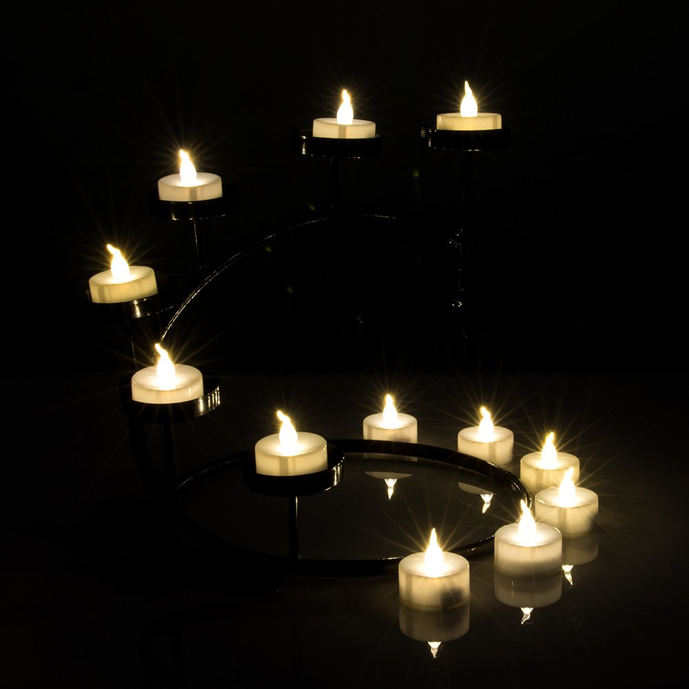 AGPtEK Timer Flickering LED Tealights Candles Battery-Operated Flameless Tealights for Wedding Holiday Party Home Decoration 24pcs(Warm White) by AGPTEK (Image #5)