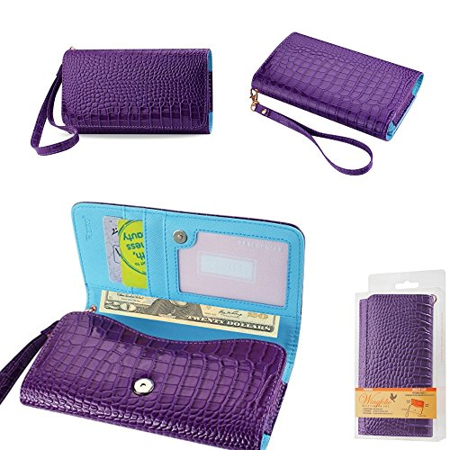 Wallet Purple Alligator with Cash Pocket, Credit Card Slots and ID Window for Tracfone LG Fiesta with a Cover on it. Comes with Wrist Strap.