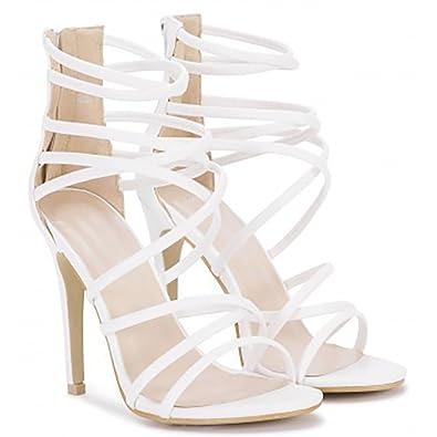 f41110938121 Shoe Closet Ladies White PU Ankle Strap Stilettos Peep Toes Strappy Sandals  High Heels UK3