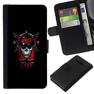 LECELL--Cuero de la tarjeta la carpeta del tirón Smartphone Slots Protección Holder For Samsung Galaxy Core Prime -- Slayer Cráneo gótico oscuro --