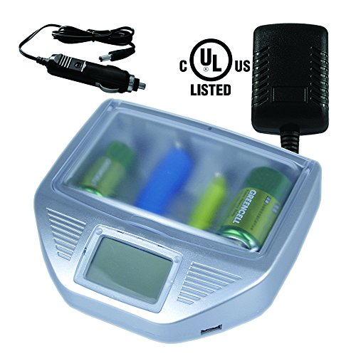 OBA-HORSE Universal Multi Battery Charger for Your Disposable Alkaline AA,AAA,C,D,9V Batteries, and Ni-Cd, Ni-Mh, Lithium 18650, 26650 Batteries, 2 USB Prots for Your Device Charge,