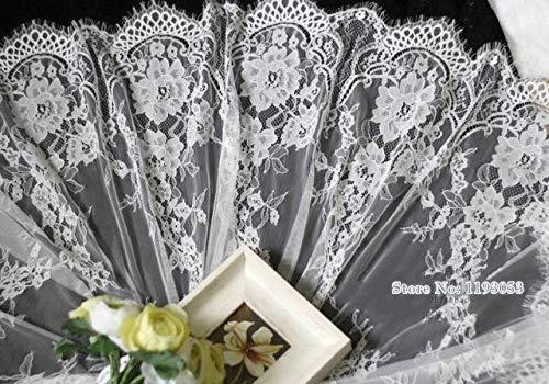 Chantilly Eyelash Edge Lace Fabric Floral Bridal/Wedding Dress Flower African Lace Table Cloth DIY Crafts Trim Applique Ribbon Curtains ALE16 -