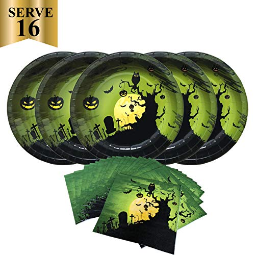 Halloween Creepy Disposable Paper Party Pack-Serves 16- Includes 10 Inches Big Paper Plates and Luncheon Napkins