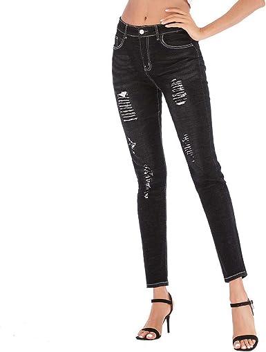 Mujer Encaje Empalme Jeans Botón Arrancado Cremallera ...