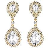 BriLove Gold-Toned Dangle Earrings Women's Wedding Bridal Fashion Crystal Teardrop Infinity Earrings Clear