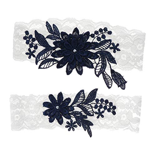 Almencla Pack of 2 Wedding Bridal Garter Lace Embroidered Flower Throwaway Toss Thigh Ring One Size