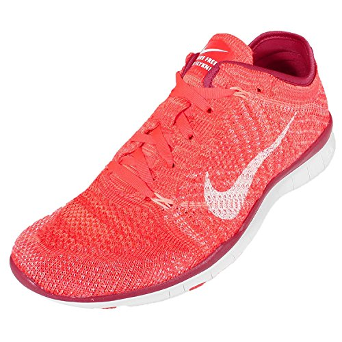Nike Vrouwen Wmns Vrije Tr Flyknit, Helder Karmozijnrood / Wit-prm Rd-atoom, 8.5 Ons