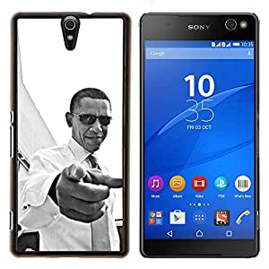 Americana Patriotismo Usted Negro- Metal de aluminio y de plástico duro Caja del teléfono - Negro - Xperia C5 E5553 E5506 / C5 Ultra