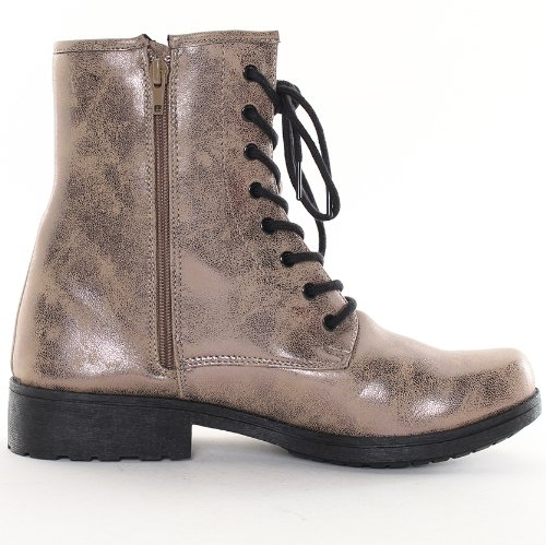 Qupid Womens Missile-04 Military Lace Up Bootie in Taupe / Bronze Size 7.5 cBUXAU