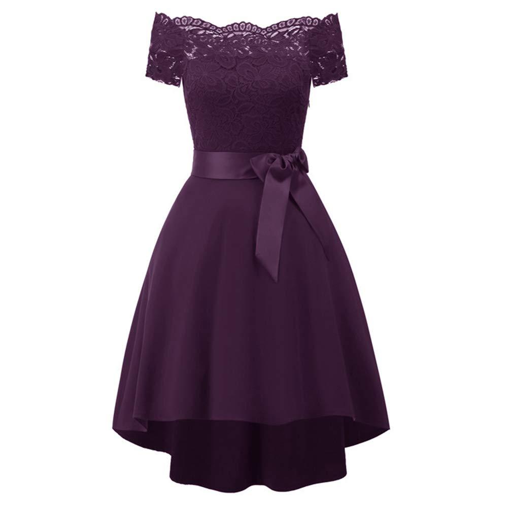 Purple Women Off Shoulder Lace Dress Strapless Party Dress ALine