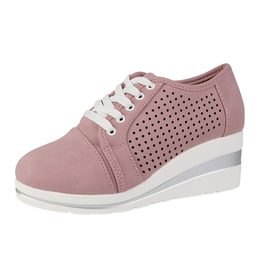 Dermanony Women's Solid Color Sneakers Large Size Mesh Hollow Out Roman Wedges Height Increasing Casual Shoes Pink by Dermanony _Shoes