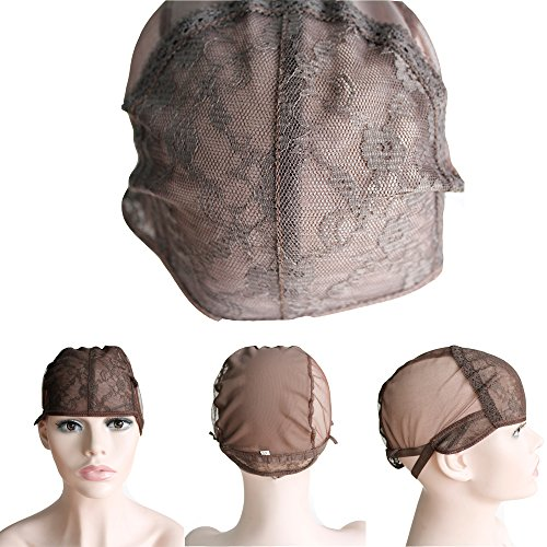 CXYP Lace Wig Caps For Making Wigs With Adjustable Strap Weaving Cap Tools Hairnets Glueless Wig Cap (Middle, brown) by CXYP