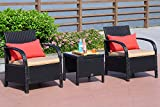Cloud Mountain 3 Piece Patio Bistro Set Wicker Rattan Chair Set Sectional Club Chair Furniture Set Two Chairs Coffee Table, Black Rattan with Khaki Cushion Review