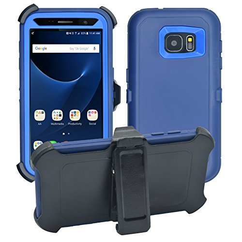 Samsung Galaxy S7 Cover | 2-in-1 Screen Protector & Holster Case | Full Body Military Grade Edge-to-Edge Protection with carrying belt clip| Drop Proof Shockproof Dustproof | Navy Blue / Blue