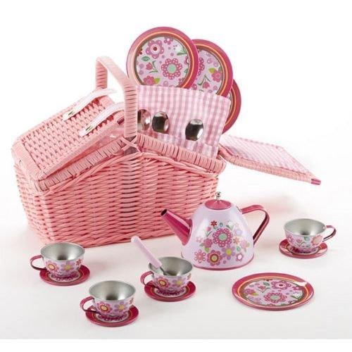 Delton Products Tin 18 Pcs Tea Set in Basket, Floral, Multicolor 8001-0