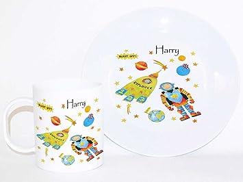 Personalised Dinner Set. Baby Gift Personalised Keepsake Toddler Dinner Set SPace Ceramic  sc 1 st  Amazon UK & Personalised Dinner Set. Baby Gift Personalised Keepsake Toddler ...