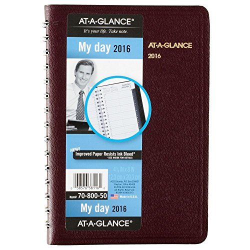 AT-A-GLANCE Daily Appointment Book / Planner 2016, 12 Months, 4.88 x 8 Inch Page Size, Winestone (7080050)