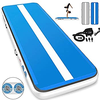 Image of 1INCH Airtrack Tumbling Mat 10ft Blue Air Track Mat 6 inches Inflatable Gymnastics Mat with Electric Air Pump for Training Gymnastics,Cheerleading,Parkour,Martial Arts,Taekwondo Training Mats