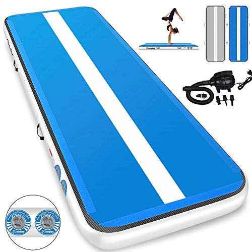 Furgle 10ft/13ft/16ft/20ft Inflatable Airtrack Gymnastics Tumbling Floor Mat,Tumble Track Air Mat,Home Use Air Tracks with Electric Air Pump for Kids/Gym/Training/Pool (13ftx3.3ftx6inch, Blue + Gray)