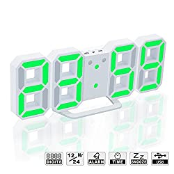 LED Digital Alarm Clock For Desk / Shelf / Tabletop, Modern Home Decoration 3D Wall Clock, Easy To Read at Night, Loud Alarm and Snooze, Big Digit Display (White Frame, Green Light)