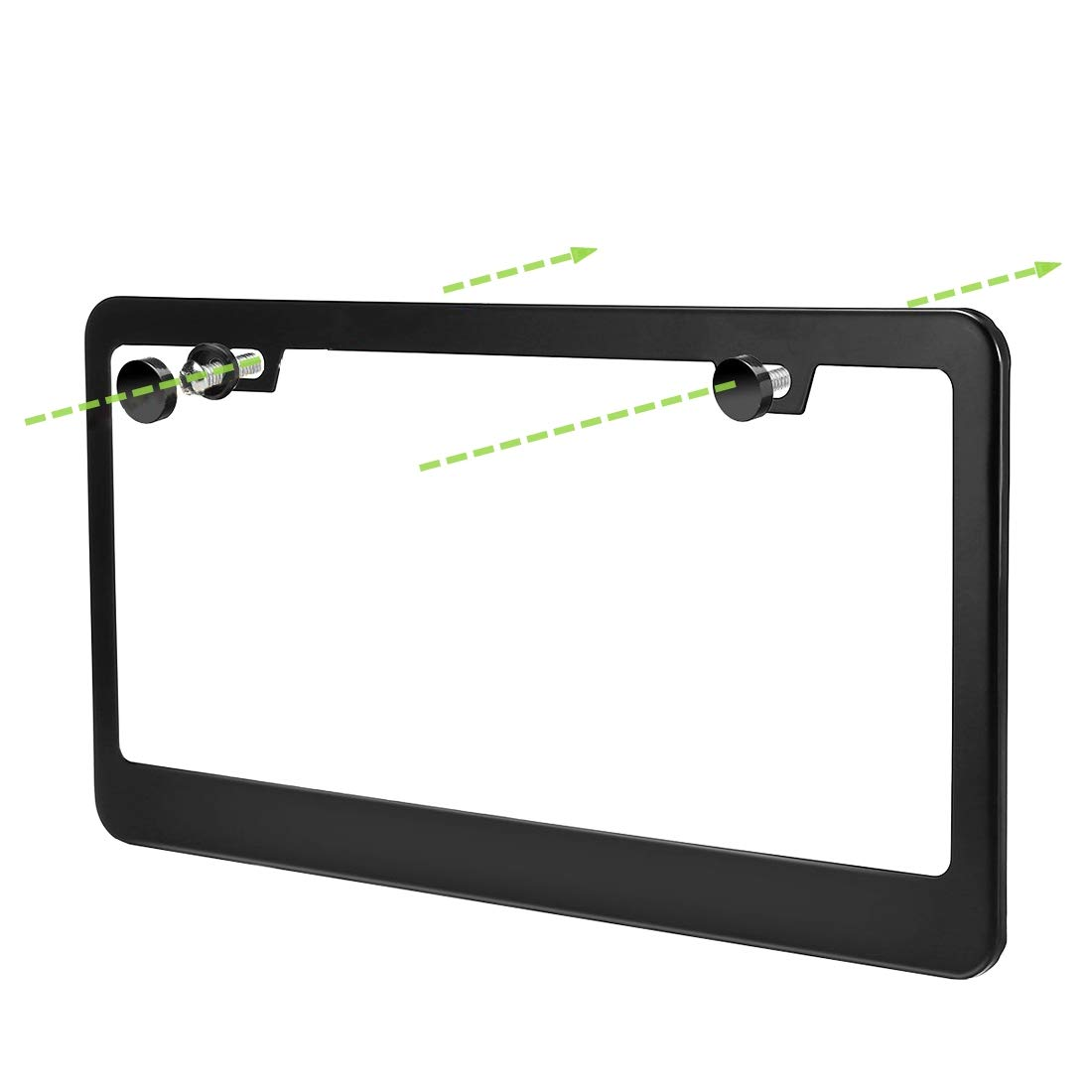 uncle squirrel 2 Pieces Black License Plate Frame with Chrome Screw Caps,Holes Stainless Steel Car Licence Plate Covers for US Vehicles