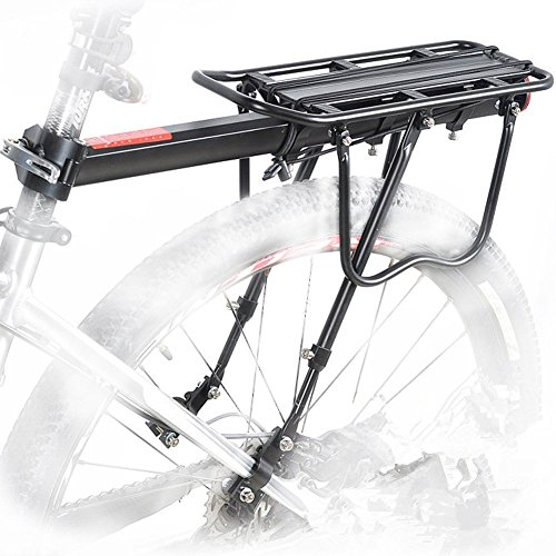 Fairbridge 110 Lbs Capacity Aluminum Alloy Bicycle Rear Rack Adjustable Pannier Bike Luggage Cargo Rack Bicycle Carrier (Aluminum Rear Rack)