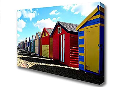 Paisaje colorido diseño de casetas de playa lienzo Prints, Large 26 x 40 inches